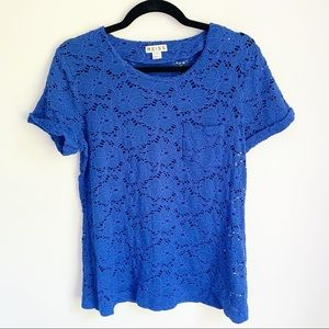 Reiss Lace Pocket Crew Neck T-Shirt in Blue